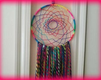 "8"" Rainbow Dreamcatcher / Hippie Decor / Bohemian / Wall Hanging / Kid's Room / Macrame / FREE SHIPPING"