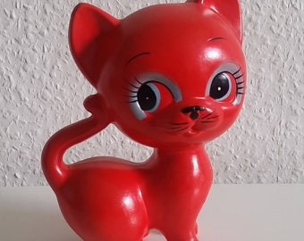 70s cat red 17 cm vintage rockabilly kittens Dekokatze Florencia