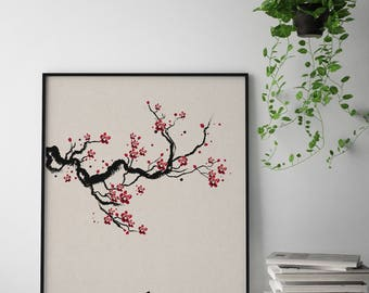 Cherry Blossom Art Print, Cherry Blossom Vintage Print, Cherry Blossom Tree Wall Art, Sakura Printable, Japanese Art Print, Love Symbol