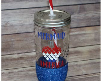 Mermaid In America Glitter Dipped Mason Jar Tumbler
