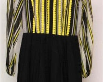 1960s Black and Yellow Sheer Dress