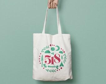 Tote Bag, 518 Tote Bag, Upstate New York Tote Bag, Farmers' Market Tote, Hand Stenciled Tote Bag