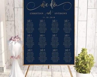 Navy wedding seating chart, Wedding seating chart poster, Wedding Seating Chart, Gold wedding seating chart, Seating chart template, SC172