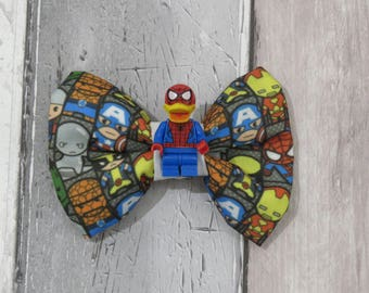 MiniFigure Marvel Spider Man Donald Duck Lego Dog Bow Tie, Dog clothing, Doggy Bow Tie, Puppy Bow Tie, Detachable Bow Tie, Slip on bow tie
