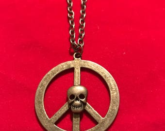 Skull and Peace Sign Necklace