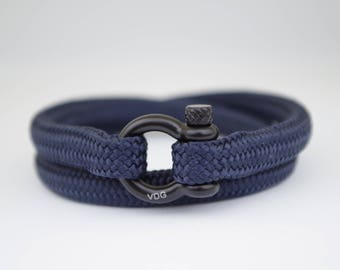 DOUBLE NAVY BLUE & black | Sailing bracelet -Custom and Handmade