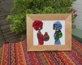African  women - Handmade picture with African Fabrics - Ethnic Gift