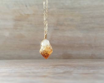 Raw Citrine Necklace Sterling Silver, Citrine Pendant, Raw Citrine Jewelry, Rough Citrine Necklace, Raw Crystal Necklace November Birthstone