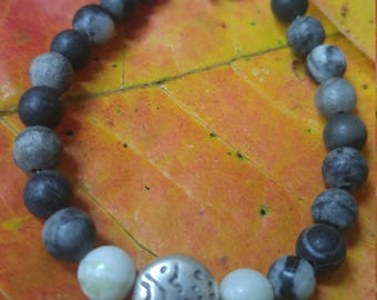 Black and Gray marble, beaded bracelet Jade accent bead. Funky organic BoHo bracelet.