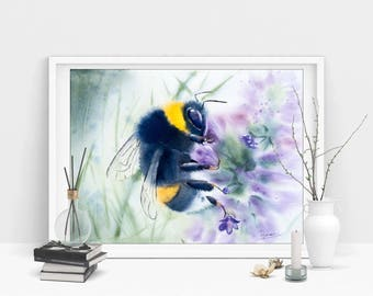 Bumble bee art  print Watercolor painting nursery wall decor gift Bumblebee