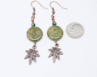 Pot Jewelry, Cannabis Leaf, Unakite, Pot Plant, Pot Leaf, Cannabis Jewelry, Copper Earrings, weed earrings 12mm coin, Reefer, Spliff, Weed