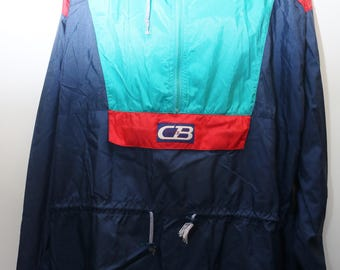 "Rare 90's Vintage ""CB SPORTS"" Colorblocked Windbreaker Pullover Jacket Sz: LARGE (Men's Exclusive)"