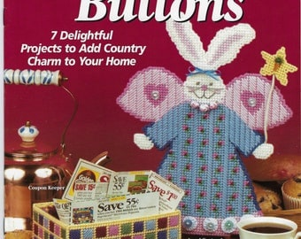Country BUNNIES & BUTTONS 7 Plastic Canvas Projects Needlepoint Patterns