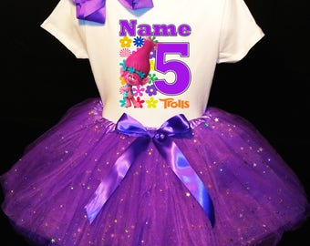 TROLLS***With NAME*** 5th Fifth 5 Birthday Dress  Fast Shipping Purple party Shirt & Tutu outfit Poppy Personalized