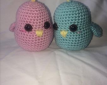 Stuffed Animal, Baby toy, crocheted amigurumi birds