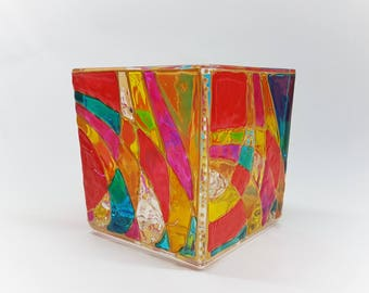 Cube Tea Light Candle holder hand painted, red-tones, decor