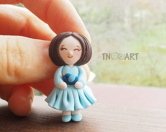 Tiny Brooch Girl with blue bird /handmade polymer clay jewelry / lovely pin / girly blue dress miniature clay pupa kids pin