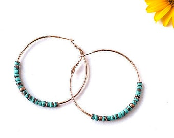 Original Gift for Daughter Gift Hoop Earrings Rose Gold Earrings Turquoise Earrings Turquoise Jewelry Rose Gold Jewelry Gold Plated Earrings