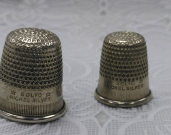 Vintage Solid Nickel Silver Thimbles Set of 2 Sewing Notions (2)