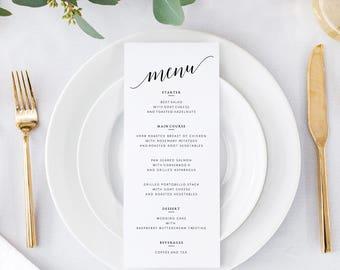 Wedding Menus Template | Printable Wedding Menus | Editable Wedding Menus Printable | DIY Wedding Menus Printable | Menus Wedding Template