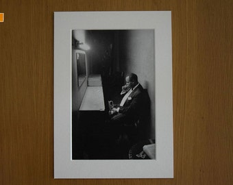 Louis Armstrong (1958) by Dennis Stock. Photo Print in A4 Picture Mount.