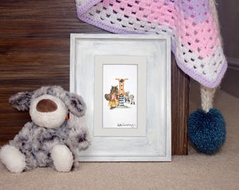 Personalised letter print I- Custom mounted Illustrated alphabet - Children's illustration - Original hand drawn alphabet- Nursery wall art