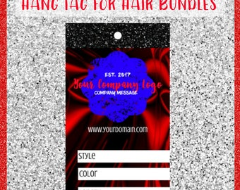 Printable Red Silk Hang Tag Design for Hair Bundles | Hair Tag Design | Add Your Own Logo