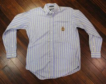 Vintage Polo Ralph Lauren Green Label Collared Button Down Crest Logo Mens XL