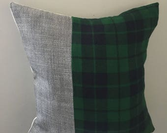 Gray/ Navy and green plaid pillow cover