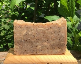 Coffee Scrub Soap (Handmade Soap, Unscented Soap made with Fresh Brewed Coffee, Contains Coffee Grounds, Very Exfoliating, VERY Scrubby)
