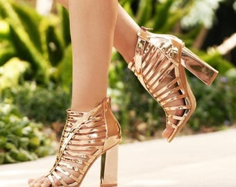 Mark and Maddux Cander-08 Strappy Women's High Heel Sandals in Rosegold