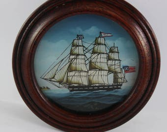 Wooden Vintage Cufflink Box with 3 Masted Ship on Cover