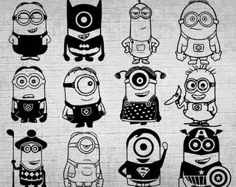 12 Minions Clipart,Minions SVG,Cutable,Cricut,Minions PNG,Despicable me svg, Minions printable,Decoration,Minions Party supplies