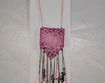 Pink and Black Beaded Fringe Pennant Opera Length Chain Pendant Necklace