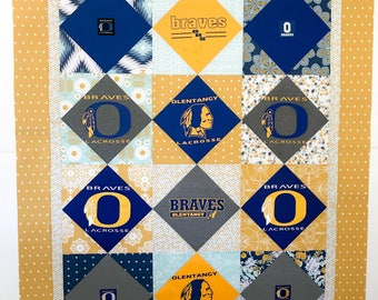 On Point Layout T-shirt Quilt with 12 t-shirts / Throw or Full Size