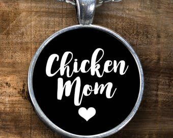 Chicken Mom Necklace - Silver Round Pendant Jewelry Gift for Chicken Lovers