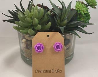 Rose Earrings Lavender Purple