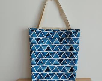 Blue triangles tote | triangle print tote | library tote geometric | book bag triangles | book bag blue cotton | geometric tote | blue white