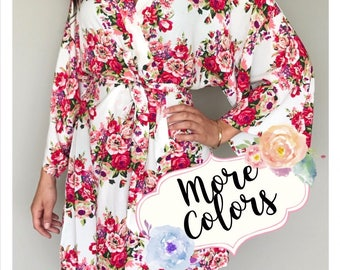 SALE! Cotton Floral Robes, Bridesmaid Robes Set of 1, 2, 3, 4, 5, 6, 7, 8, 9, 10, 11, 12, Bridesmaid gifts, Bride Robe, Getting Ready Robe