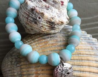 Ocean Bead Bracelet with Charm