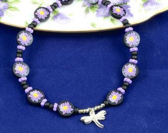 Water lily/Lotus blossom and dragonfly necklace