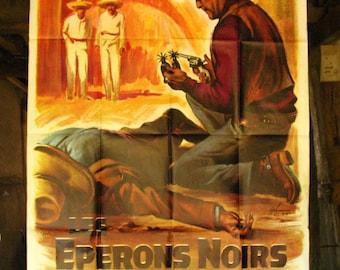 Original 1965 Vintage Big Size Movie Poster, Les Éperons noirs.
