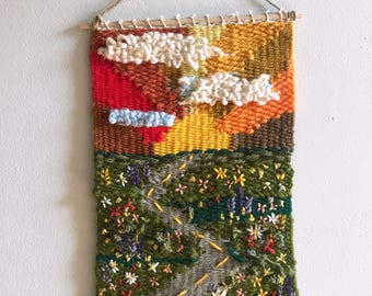 WILDFLOWER HORIZON #1 (Small) - Hand-woven tapestry, weaving, wall art, wool, fiber art