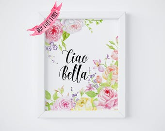 Printable Poster Ciao Bella, Italian Word Art Print, Hello Beautiful Sign, Girly Gifts, Girl Room Decorations, Women Gift Ideas Feminine Art