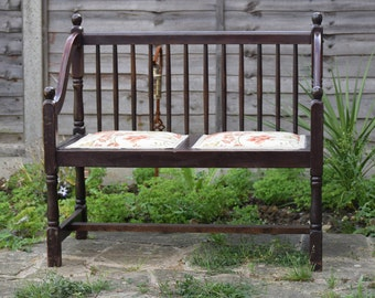 Antique Dark Wood Bench