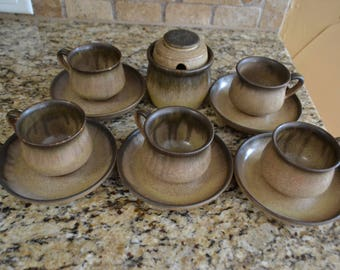 Vintage Denby England Romany Brown 5 Cups Saucers Sugar Bowl Set Rare