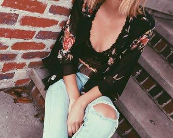 Kimono Floral Coverup Sleeves Sheer Elle Small S Boho Bohemian Hippie Hip