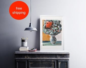 "Acrylbild, Malerei, Gemälde, ""Red Flower"", acrylic painting, Acryl auf Leinwand, Original,  Wandkunst, Modern, Handgefertigt"