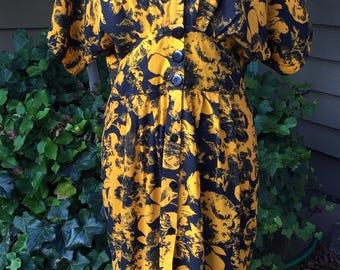 Vintage JB Too Midnight Blue/Burnt Yellow Wiggle Dress