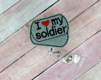 I Love My Soldier Badge Reel - Military Spouse Gift -  Feltie Badge Reel - Cute Badge Clip - Retractable ID Badge Holder - Badge Pull.